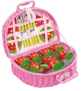 pink picnic basket with spoons & plates