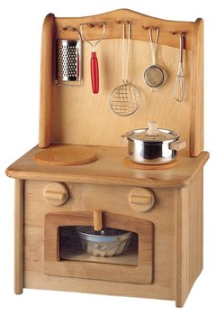 Childrens Wooden Kitchen - Stove Top Oven Concealed Sink